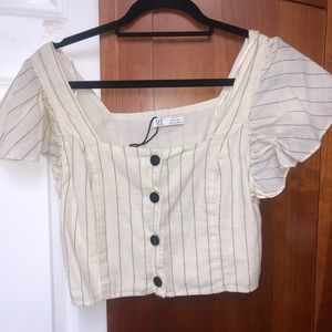 Zara NWOT stripped linen crop top